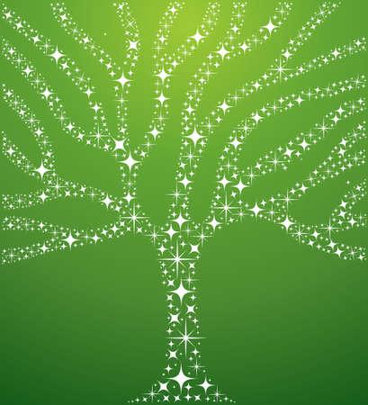 albero della vita: Astratto albero illustrazione con stelle composizione su sfondo verde. Vettoriali