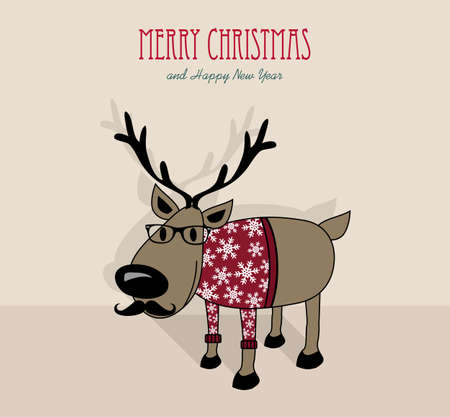 Merry Christmas and happy new year retro hipster reindeer in winter sweater cartoon greeting card.  Vector