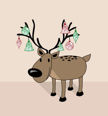 Merry Christmas funny decorated reindeer with xmas baubles greeting card collection. Vector