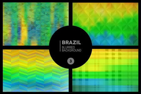 Geometric blurred backgrounds set in Brazil flag concept. Used in cover design, website background, greeting card and advertising Vector