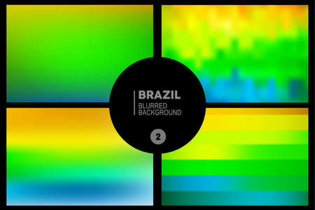 Abstract blurred backgrounds set in Brazil flag concept. Used in cover design, website background, greeting card and advertising. Vector