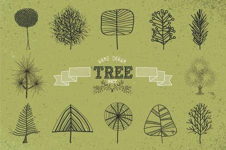 vintage etiket: Uniek hand getrokken retro boom pictogrammen instellen. Vintage label en groene grunge achtergrond ontwerp.