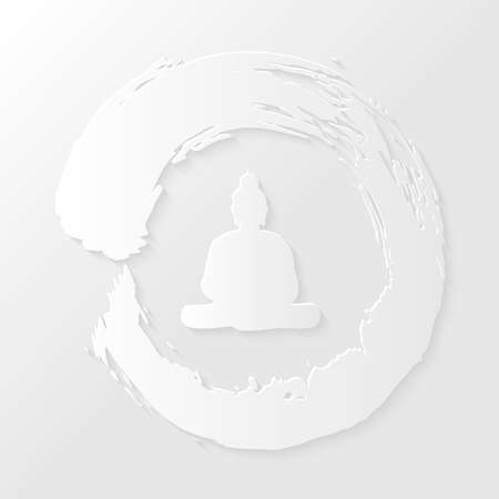 Clean Enso Zen circle illustration and Buddha silhouette with drop shadow over white background.  矢量图像