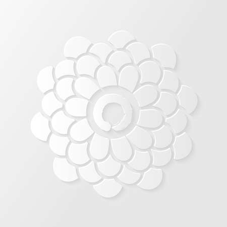 Lotus flower and Zen circle symbol with drop shadows on white background. Vector