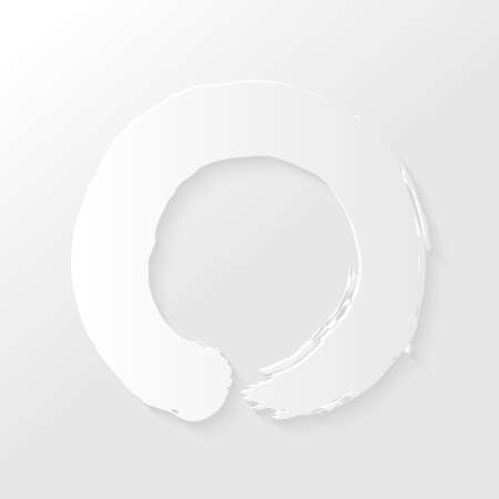 Enso Zen circle illustration with drop shadows on white background. Illustration