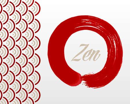 Enso Zen circle illustration. Meditation symbol of Buddhism and Oriental style background. Illustration