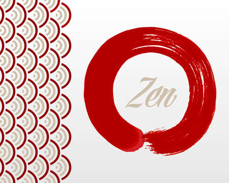 enso: Enso Zen circle illustration. Meditation symbol of Buddhism and Oriental style background. Illustration