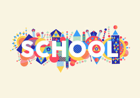 Back to school concept illustration with colorful abstract elements.  Vector