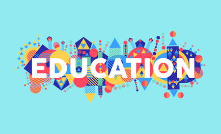university word: Creativity at education text concept colorful abstract elements composition.