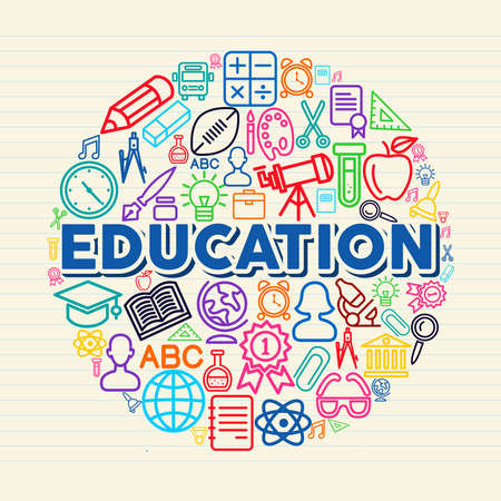 Back to school global icons education text over paper sheet background.