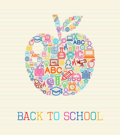 high school girl: Back to school apple icons shape over paper sheet background.