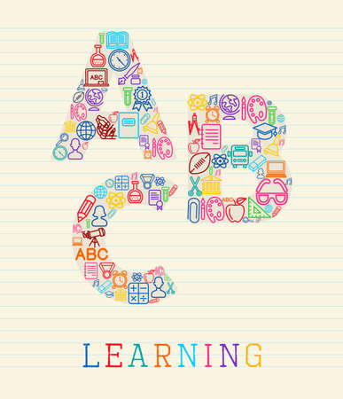 art supplies: Learning global educational concept: letters ABC shapes made with school icons on lined paper sheet.