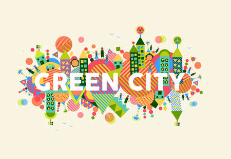 Colorful green city. Environment and ecology sustainable development concept illustration. Çizim