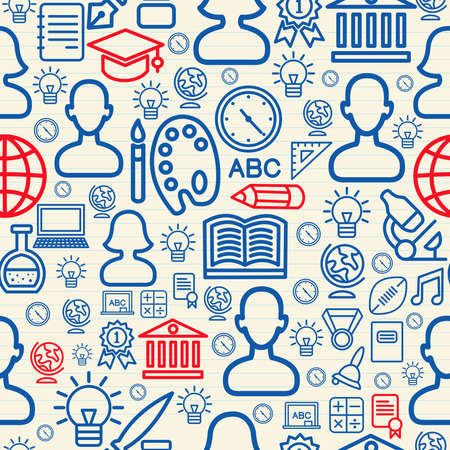 back round: Education seamless pattern background with school icons and symbols. Illustration