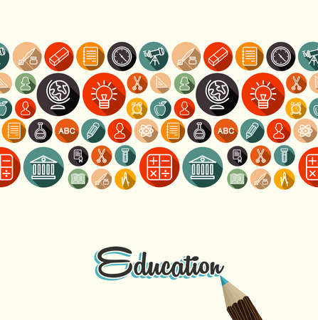 School elements seamless pattern background with pencil and education vintage text. Vector