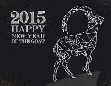 cabra: Año Nuevo de la cabra 2015 estilo retro de la vendimia sobre fondo de la pizarra.