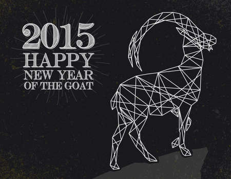 blackboard background: New Year of the Goat 2015 Vintage retro style over blackboard background.