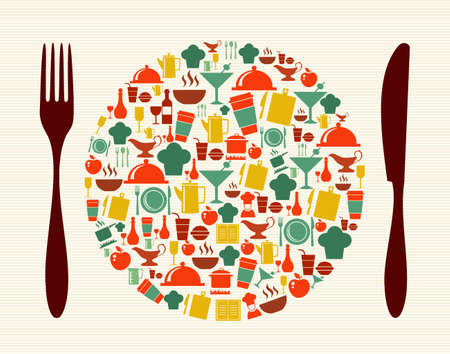 nutritious: Restaurant and food menu design icons composition illustration.