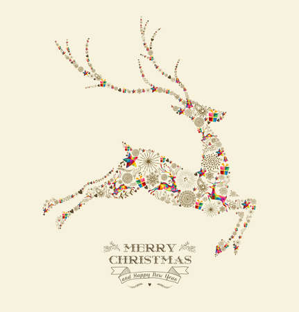 Merry Christmas and happy new year greeting card. Jumping reindeer shape in vintage retro style illustration.  Vettoriali