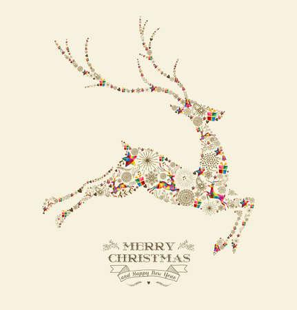 Feliz Navidad y nueva tarjeta de felicitación de año feliz. Saltando forma de renos en la ilustración de estilo retro de la vendimia.