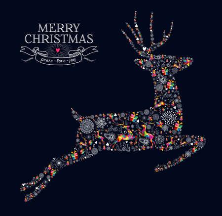 메리 크리스마스 인사말 카드입니다. 빈티지 레트로 스타일의 그림과 순록 모양 점프.