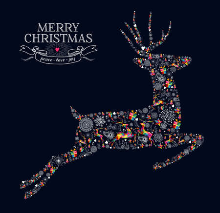 Merry Christmas greeting card. Jumping reindeer shape in vintage retro style illustration. Çizim