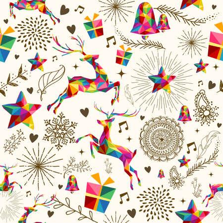¢                    â       reindeer: Estilo retro de la vendimia de la Navidad sin patrón. Triángulos coloridos con la textura del grunge de renos y la composición de los copos de nieve.