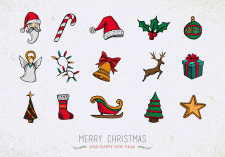 Merry Christmas colorful retro vintage icon set isolated over grunge background.  Vector