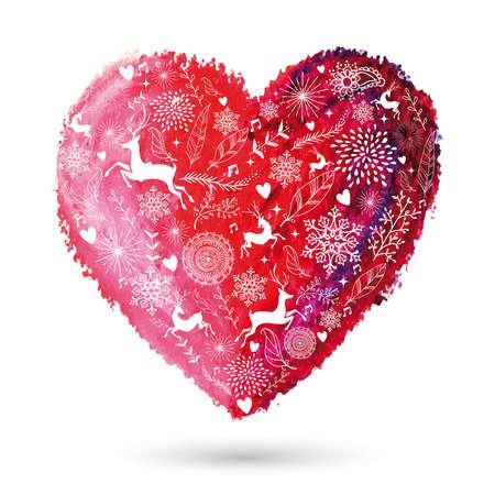 Christmas elements over oilpastel hand drawn art love heart.  Vector
