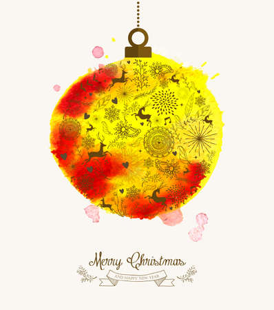 Christmas bauble hand drawn over watercolor texture illustration.  Vector