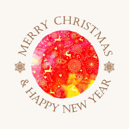 Retro Christmas circle hand drawn in watercolor texture illustration.  Vector