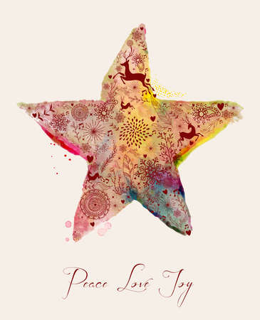 Christmas Peace love and joy vintage hand drawn watercolor star greeting card.  Vector