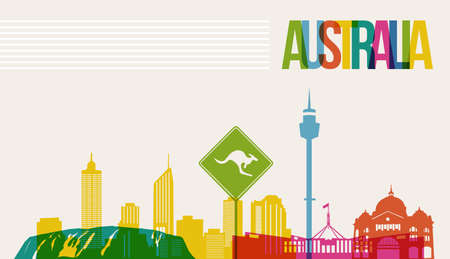 perth: Travel Australia famous landmarks skyline multicolored design background. Transparency vector organized in layers for easy create your own website, brochure or marketing campaign. Illustration