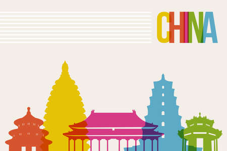 Travel China famous landmarks skyline multicolored design background Vector
