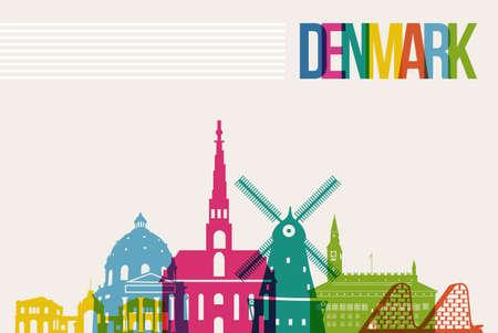 viaggi: Viaggi Danimarca famosi sfondo skyline disegno multicolore Vettoriali