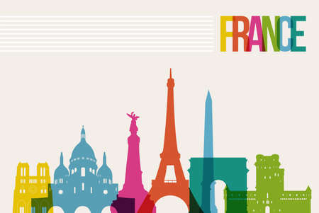 france: Travel France famous landmarks skyline multicolored design background