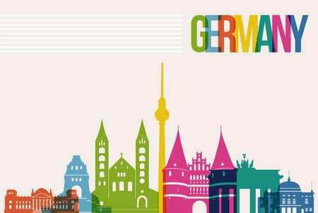 유명한: 여행 독일의 유명한 랜드 마크 여러 가지 빛깔 디자인 배경 스카이 라인 일러스트