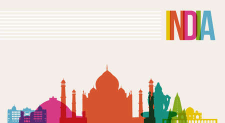 Travel India famous landmarks skyline multicolored design background