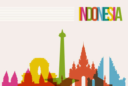 and asia: Travel Indonesia famous landmarks skyline multicolored design background