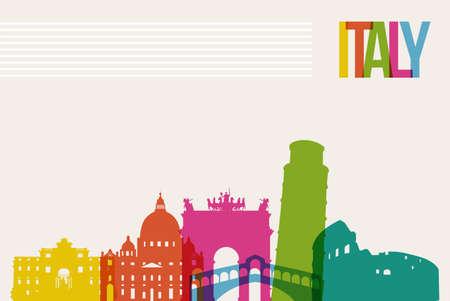 famous: 旅遊意大利著名的地標天際線多色設計背景 向量圖像