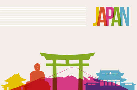 Travel Japan famous landmarks skyline multicolored design background Illustration