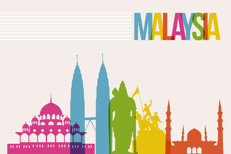 Travel Malaysia famous landmarks skyline multicolored design background Vector