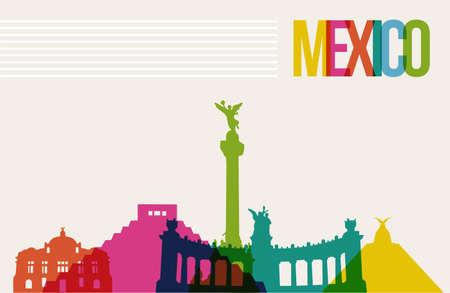 Travel Mexico famous landmarks skyline multicolored design background