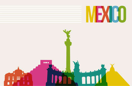 mexico: Travel Mexico famous landmarks skyline multicolored design background