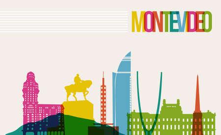 여행 몬테비데오 유명한 랜드 마크 여러 가지 빛깔 디자인 배경 스카이 라인. 만들 쉽게 자신의 웹 사이트, 브로셔 또는 마케팅 캠페인에 대 한 레이어 구성 투명성 벡터.