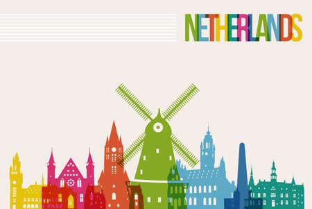 여행 네덜란드의 유명한 랜드 마크 여러 가지 빛깔 디자인 배경 스카이 라인 일러스트
