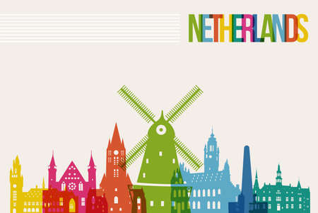 Travel Netherlands famous landmarks skyline multicolored design background