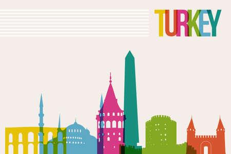 Travel Turkey famous landmarks skyline multicolored design background