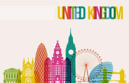 연합 왕국: 여행 영국 유명한 랜드 마크는 여러 가지 빛깔 디자인 배경 스카이 라인 일러스트