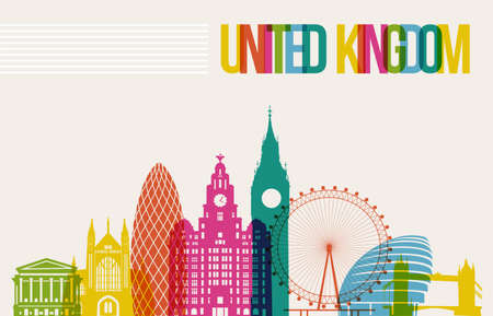 london: Travel United Kingdom famous landmarks skyline multicolored design background